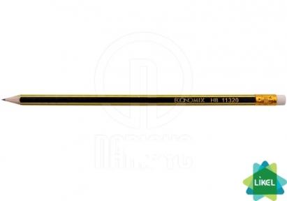 Карандаш деревянный Economix ECO LINES HB черно-желтый с резинкой