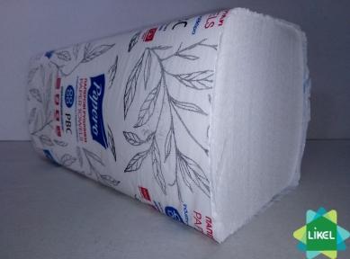 Полотенца бумажные V-сложения  2- х слойные белые  целлюлозные  PAPERO  (RV037) (20шт/ящ)