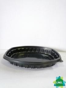 Контейнер для їжі чорний 257*202*37 мм РР (70 шт/уп)