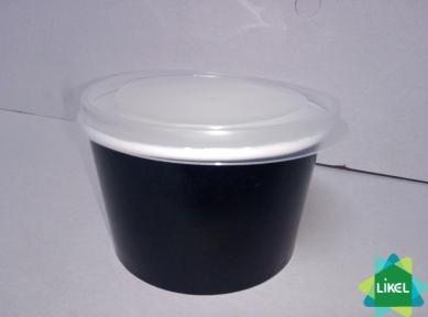 Кришка для контейнера паперового супового 470 мл чорного і білого (50/1300)