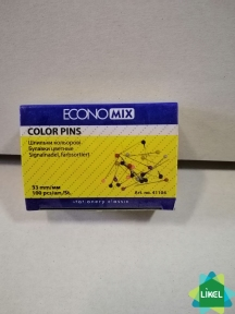 Шпильки кольорові 33 мм Economix, 100 шт.