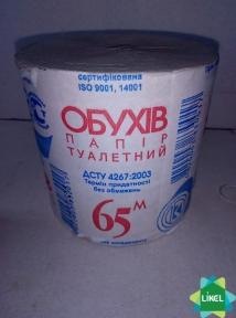 Туалетний папір б/г Обухів сірий 65 м (48 шт/пак)