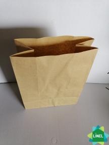 Пакет бумажный с прямоугольным дном 210*115*280 мм. 100 шт. КРАФТ