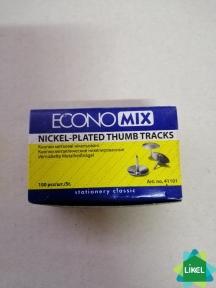 Кнопка металичесская Economix, никелированая, 100 шт
