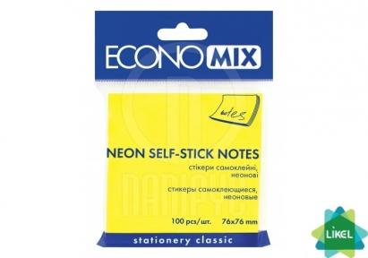 Стикеры Economix 75x75 желтые 100л