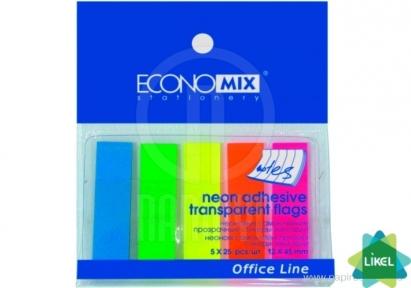 Стикеры-закладки, 12*45 мм Economix, 125 шт., цветные