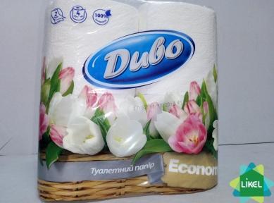Туалетная бумага двухслойная Диво Эконом целлюлозы  4шт