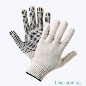 Перчатки х/б с ПВХ- точкой белые