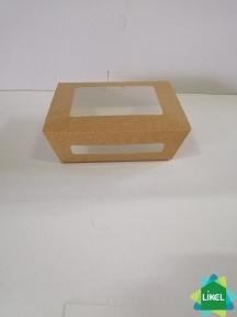 Контейнер для еды с окошком 600 мл 150*115*50 мм КРАФТ (50\350)