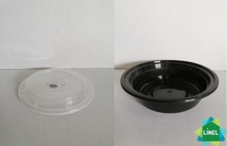 Емкость полипропиленовая черная круглая с крышкой для СВЧ, 480 мл. (50 шт.)