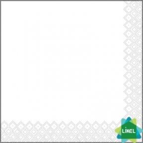Салфетка 33х33см трехслойная белая 20шт