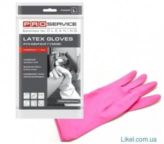 Перчатки резиновые PRO Professional, розовые крепкие размер  (L)