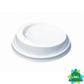 Крышка пластик. № 75 для бумажного стакана 250 мл белая (50 шт.)